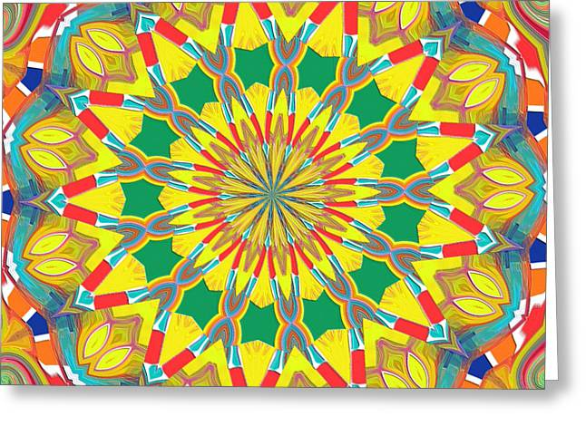 Good Day Sunshine Kaleidoscope Greeting Card by Alec Drake