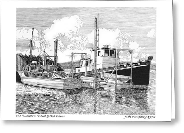 Boats At The Dock Greeting Cards - Good Dock Buddies Greeting Card by Jack Pumphrey