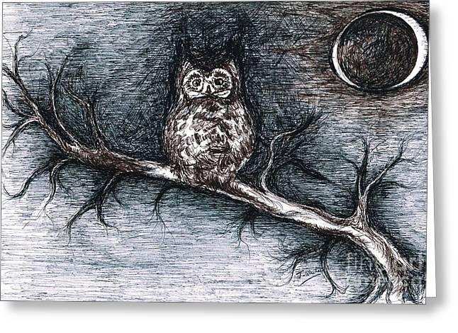 Strange Owl Greeting Cards - Strange Night Owl Greeting Card by Teresa White