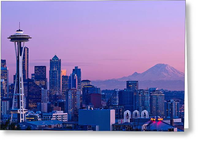 Rainy City Greeting Cards - Good Evening Seattle Greeting Card by Dan Mihai