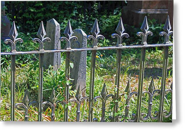Historic Cemetery Greeting Cards - Good Fences Make Good Neighbors Greeting Card by Suzanne Gaff