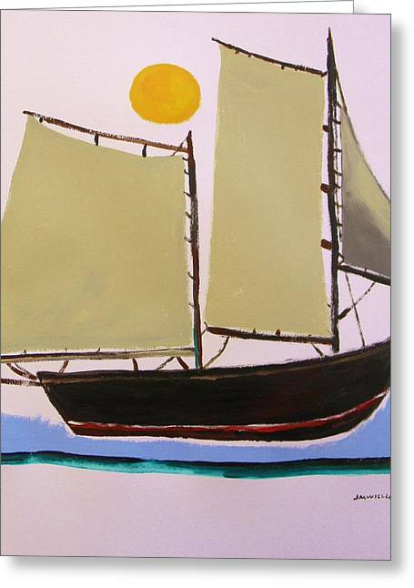 Yellow Sailboats Drawings Greeting Cards - Good Fishing Day Greeting Card by John  Williams