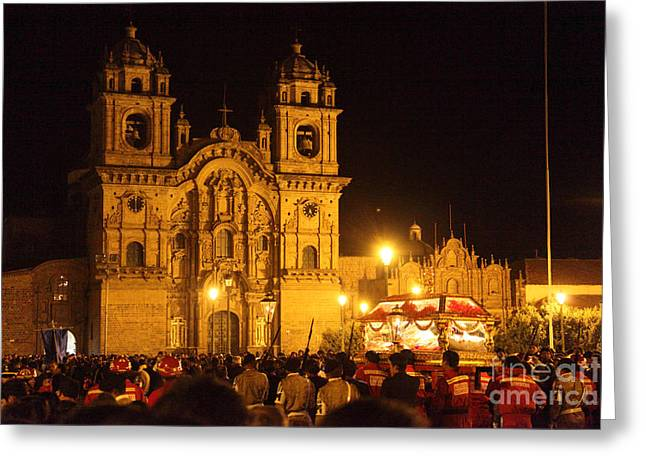 Holy Week Greeting Cards - Good Friday in Cusco Greeting Card by James Brunker