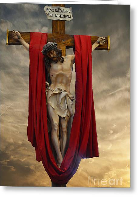 Recently Sold -  - Holy Week Greeting Cards - Good Friday- Jesus of Nazareth Greeting Card by Luther   Fine Art