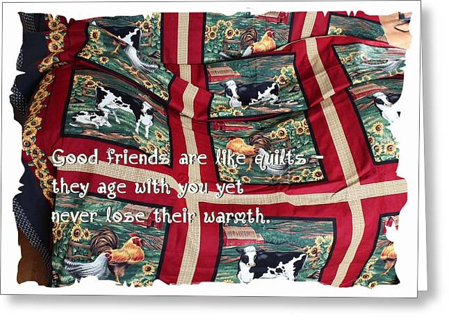 Spring Tapestries - Textiles Greeting Cards - Good Friends Are Like Quilts Greeting Card by Barbara Griffin