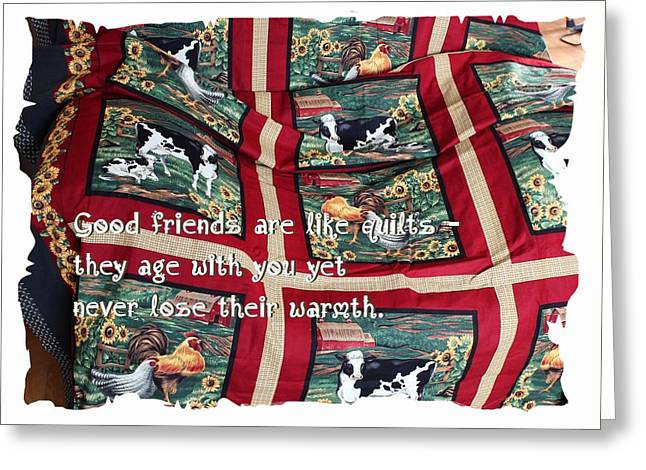 Golds Tapestries - Textiles Greeting Cards - Good Friends Are Like Quilts Greeting Card by Barbara Griffin