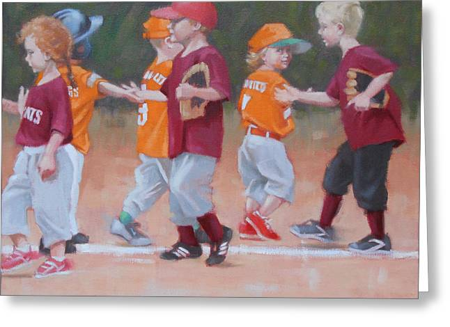 Baseball Uniform Paintings Greeting Cards - Good Game 2 of 2 Greeting Card by Todd Baxter
