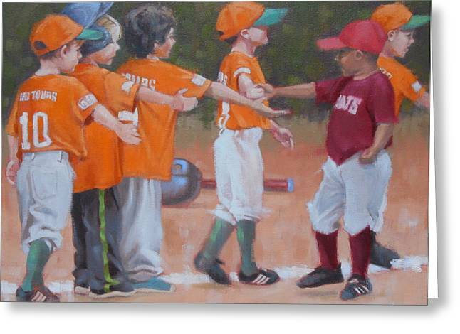 Baseball Uniform Paintings Greeting Cards - Good Gme 1 of 2 Greeting Card by Todd Baxter