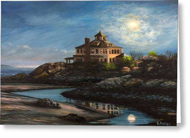 Sea Moon Full Moon Greeting Cards - Good Harbor Moon Greeting Card by Eileen Patten Oliver