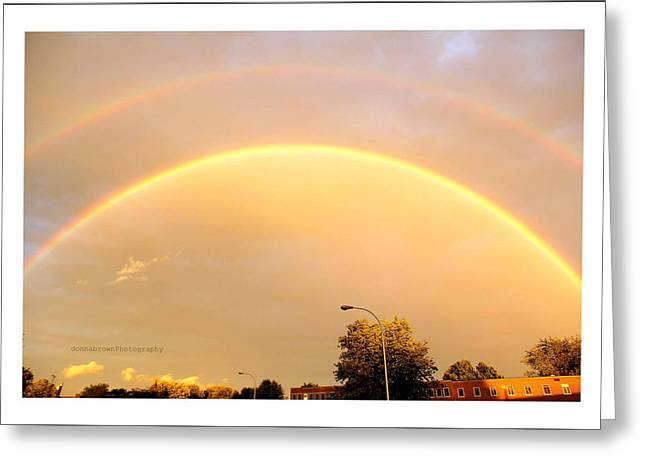 Double Rainbow Digital Art Greeting Cards - Good Luck Rainbow Greeting Card by Donna Brown