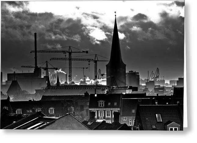 Smoke Pyrography Greeting Cards - good morning Aarhus Greeting Card by Michael  Bjerg