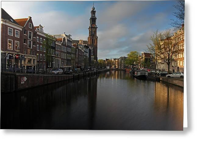 Moonrise Greeting Cards - Good Morning Amsterdam Greeting Card by Juergen Roth