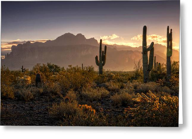 The Supes Greeting Cards - Good Morning Arizona Greeting Card by Saija  Lehtonen