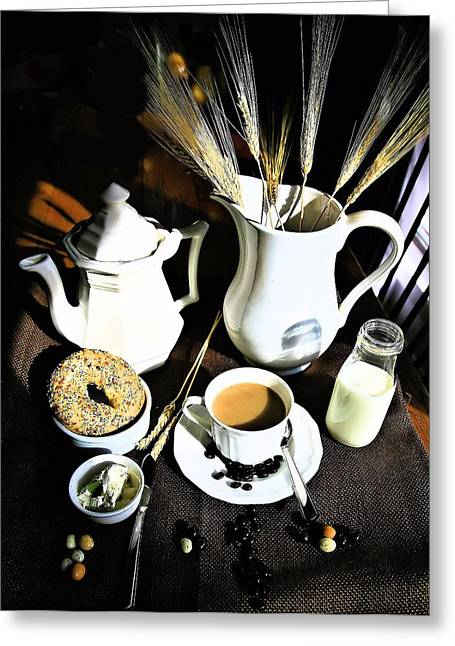 Pottery Pitcher Greeting Cards - Good Morning Coffee Greeting Card by April Ann Canada Photography