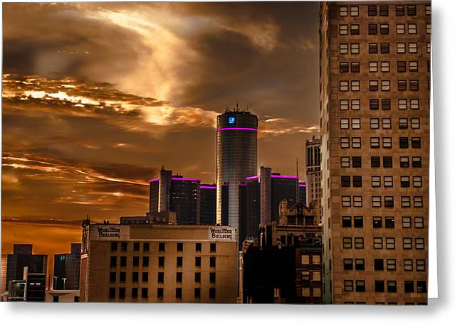 Rencen Greeting Cards - Good morning Detroit Greeting Card by Optical Playground By MP Ray