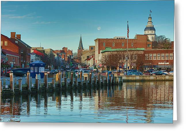 Annapolis Maryland Greeting Cards - Good Morning Downtown Greeting Card by Jennifer Casey