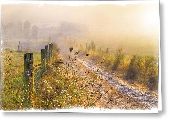 Fenceline Greeting Cards - Good Morning Farm Greeting Card by Debra and Dave Vanderlaan