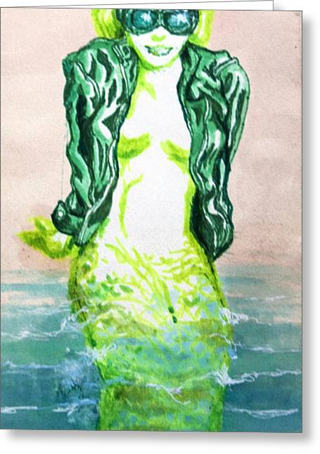 Lime Drawings Greeting Cards - Good Morning Little Mermaid Greeting Card by Del Gaizo