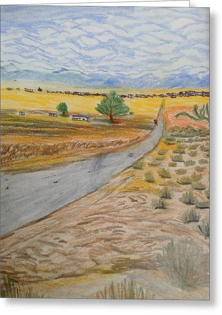 Winter Roads Drawings Greeting Cards - Good morning Ms. Lancaster Greeting Card by Christine Degyansky