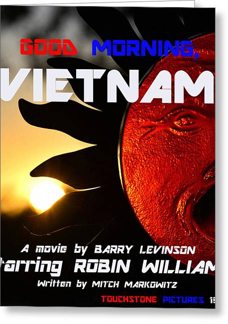 1987 Greeting Cards - Good Morning Vietnam movie poster Greeting Card by David Lee Thompson