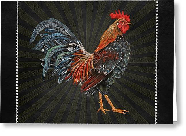 Fresh Produce Mixed Media Greeting Cards - Good Morning Rooster-JP2614 Greeting Card by Jean Plout
