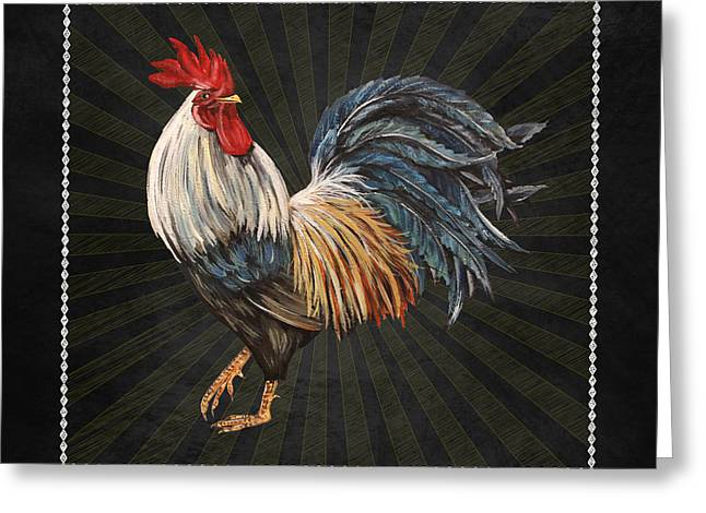 Fresh Produce Mixed Media Greeting Cards - Good Morning Rooster-JP2617 Greeting Card by Jean Plout
