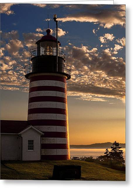 Quoddy Greeting Cards - Good Morning West Quoddy Head Lighthouse Greeting Card by Marty Saccone