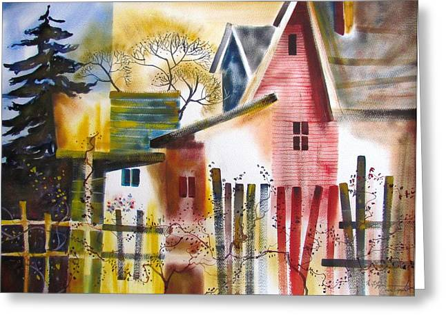 Green And Yellow Greeting Cards - Good Neighbors Greeting Card by Marc L Gagnon