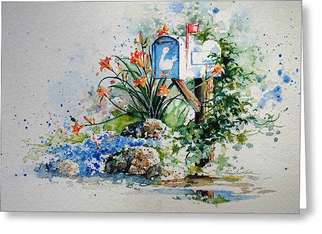 Tiger And Flag Art Greeting Cards - Good News Greeting Card by Hanne Lore Koehler