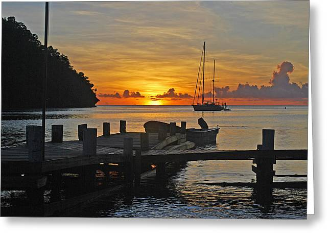 Fishing Boats Greeting Cards - Good Night St Lucia Greeting Card by Scotty Burch