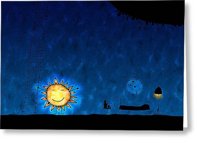 Abstract Digital Greeting Cards - Good Night Sun Greeting Card by Gianfranco Weiss