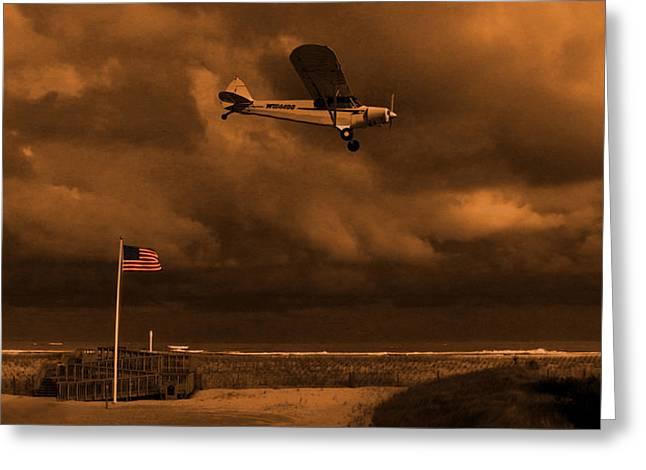 Piper Cub Greeting Cards - Good Night Wildwood Beach Greeting Card by David Dehner