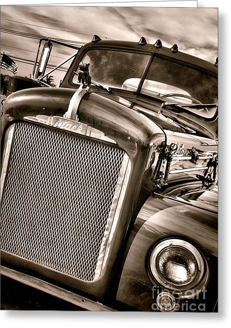 Headlight Greeting Cards - Good Old Mack Greeting Card by Olivier Le Queinec