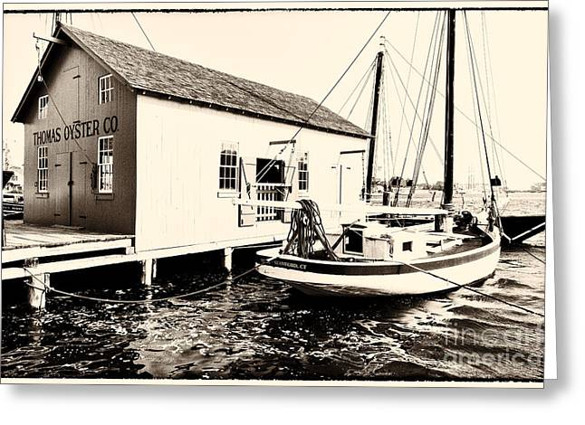 Recently Sold -  - New England Ocean Greeting Cards - Good Old Oystering Times Greeting Card by George Oze