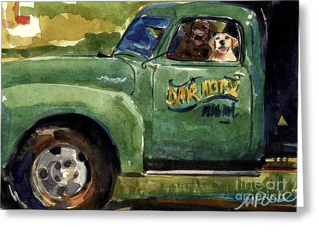 Yellow Dog Paintings Greeting Cards - Good Ole Boys Greeting Card by Molly Poole