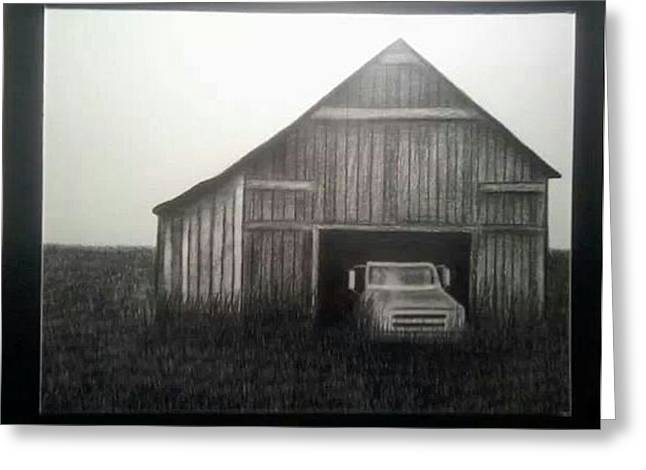 Old Barn Drawing Greeting Cards - Good Ole Days Greeting Card by Kimberly Matherly