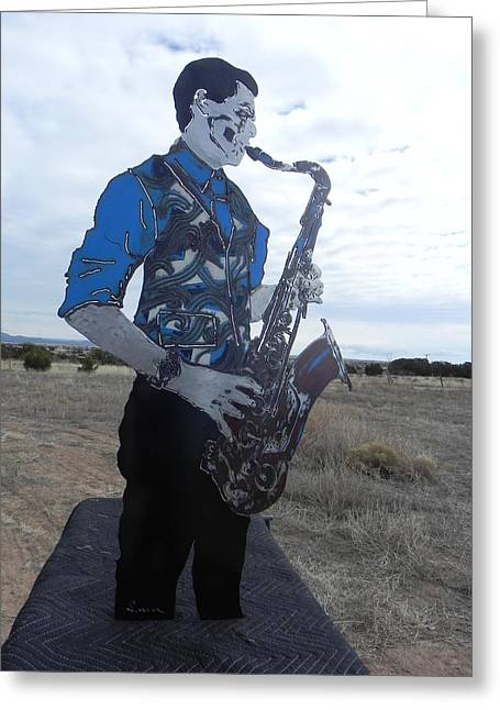 Steel Sculptures Greeting Cards - Good Sax Greeting Card by Steve Mudge