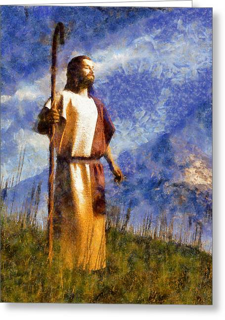 Christian Art Greeting Cards - Good Shepherd Greeting Card by Christian Art