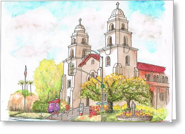 Landscape Mixed Media Greeting Cards - Good Shepherd Church in Beverly Hills - California Greeting Card by Carlos G Groppa