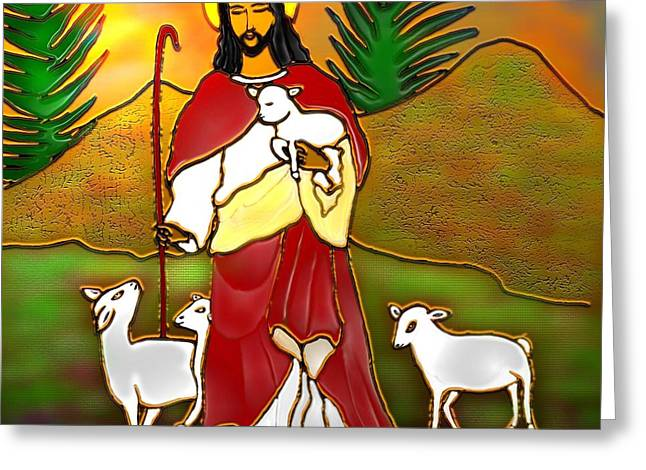 Shepherds Greeting Cards - Good Shepherd Greeting Card by Latha Gokuldas Panicker