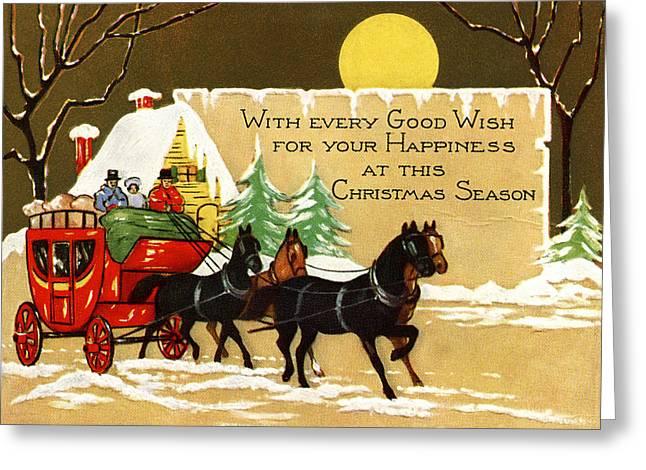 Cards Vintage Greeting Cards - Good Wishes Greeting Card by Munir Alawi