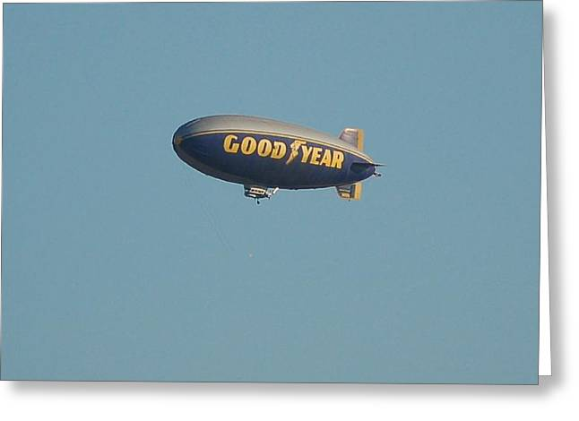 Dismantled Photographs Greeting Cards - The Spirit of America 2002 2015 Good Year Blimp Greeting Card by Linda Brody