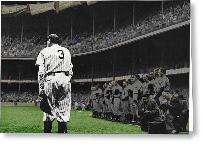 Baseball Uniform Greeting Cards - Goodbye Babe Ruth Farewell Greeting Card by Tony Rubino