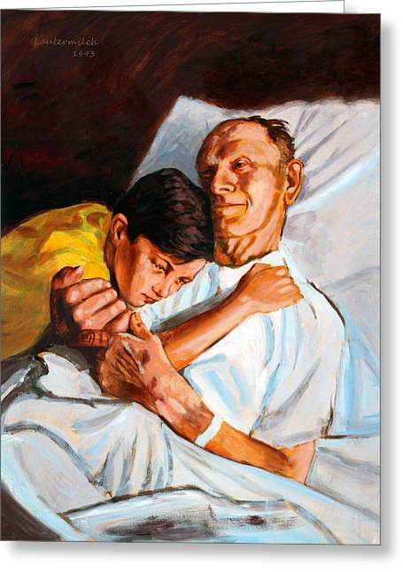 Grandson Greeting Cards - Goodbye Grandpa Greeting Card by John Lautermilch