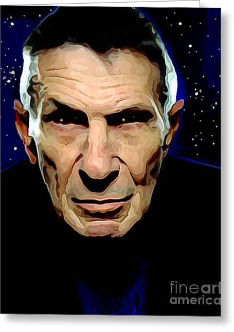 Nimoy Greeting Cards - Goodbye Leonard Nimoy Greeting Card by Charlie Spear