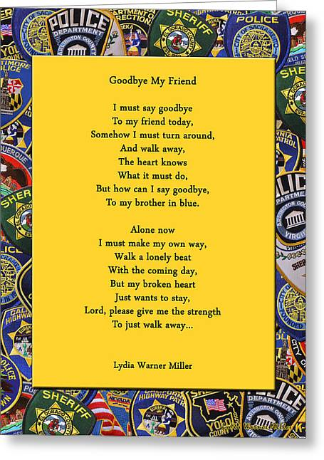 Lydia Miller Greeting Cards - Goodbye My Friend Greeting Card by Lydia Warner Miller