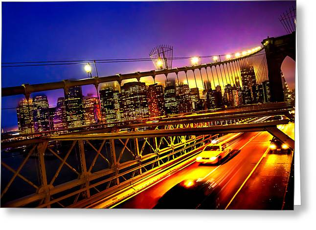 Famous Bridge Greeting Cards - Goodbye New York City Greeting Card by Az Jackson