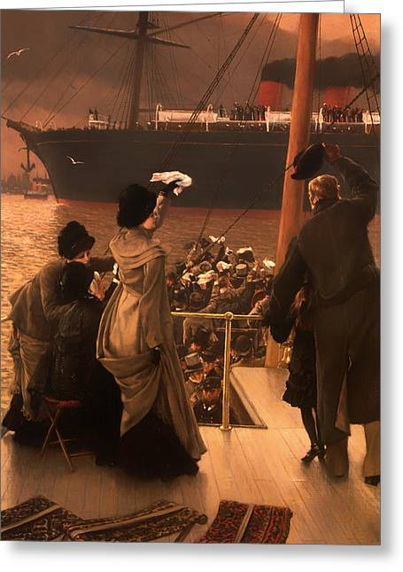 Goodbye Paintings Greeting Cards - Goodbye on the Mersey Greeting Card by James Tissot