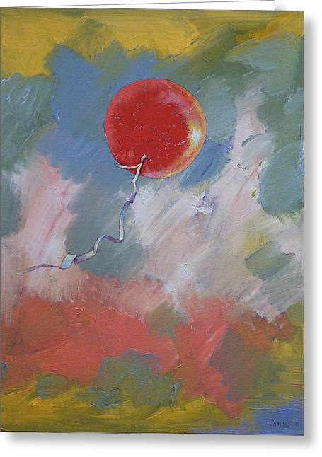 Red Balloons Greeting Cards - Goodbye Red Balloon Greeting Card by Michael Creese