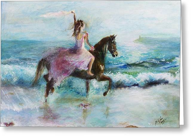 Sea Horse Greeting Cards - Goodbye Yesterday- new beginnings Greeting Card by Siobhan Lewis